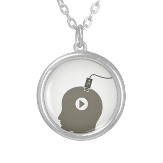 Head the computer silver plated necklace
