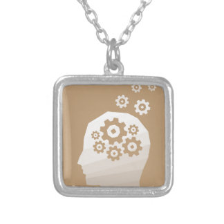 Head thinks silver plated necklace