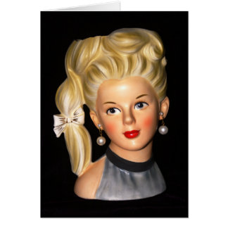 Head Vase 1960s Girl with Bouffant & Side Ponytail Card