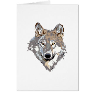 Head wolf - wolf illustration - american wolf card