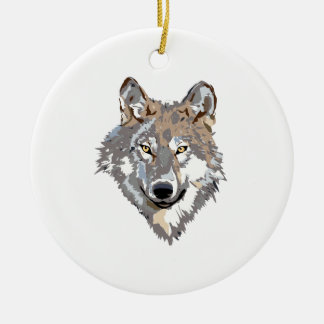 Head wolf - wolf illustration - american wolf ceramic ornament
