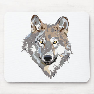 Head wolf - wolf illustration - american wolf mouse pad