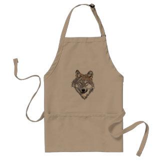 Head wolf - wolf illustration - american wolf standard apron