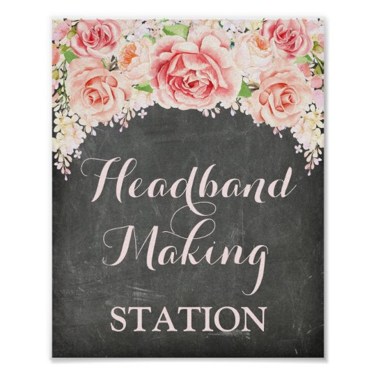Headband Making Station Pink Watercolor Chalkboard Poster
