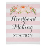 Headband Making Station Sign Pink Flowers Stripes