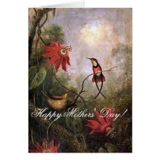 Heade Hummingbird Bird Flowers Mothers Day Card