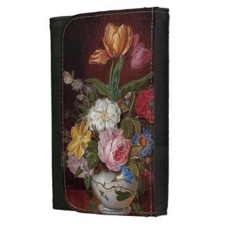 Heade Rose Morning Glory Flowers Butterfly Wallet