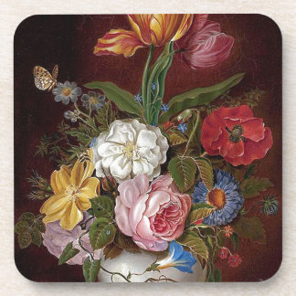 Heade Vase Flowers Floral Roses Butterfly Coaster