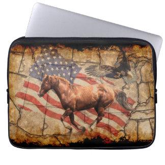"""""""Heading West"""" Horse, Eagle and US Flag Laptop Sleeve"""