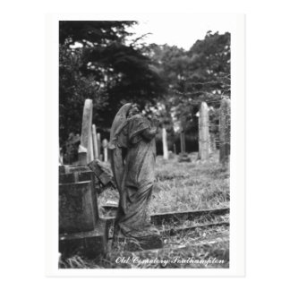 Headless Angel Statue Old Cemetery Postcard Text