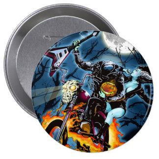 Headless Metal Horseman Pinback Button