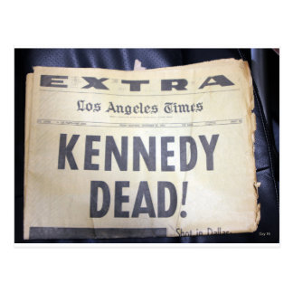Headline, Kennedy Dead Postcard