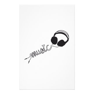 headphone silhouette with music and heart stationery paper