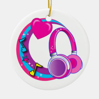 Headphones and Hearts Ceramic Ornament