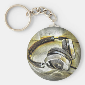 Headphones Basic Round Button Key Ring