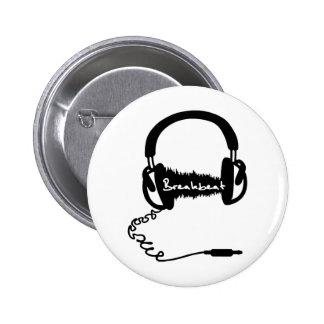 Headphones Headphones Audio Wave Motif: Breakbeat Pinback Button