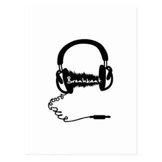 Headphones Headphones Audio Wave Motif: Breakbeat Postcard