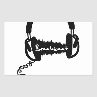 Headphones Headphones Audio Wave Motif: Breakbeat Rectangular Sticker