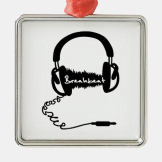 Headphones Headphones Audio Wave Motif: Breakbeat Silver-Colored Square Decoration