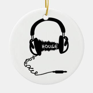 Headphones Headphones Audio Wave Motif: House Musi Round Ceramic Decoration