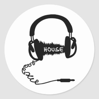 Headphones Headphones Audio Wave Motif: House Musi Round Sticker