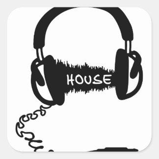 Headphones Headphones Audio Wave Motif: House Musi Square Sticker