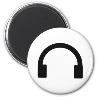headphones icon 6 cm round magnet