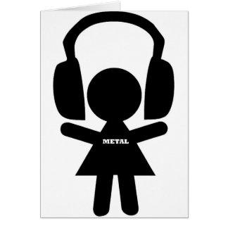 Headphones Jamming Metal Music Card