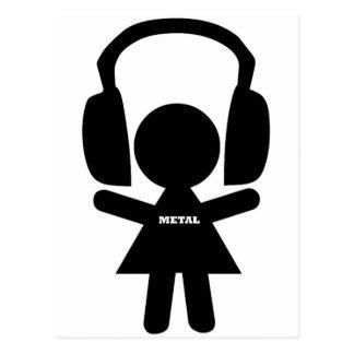 Headphones Jamming Metal Music Postcard