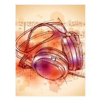 Headphones on a watercolor background & notes postcard