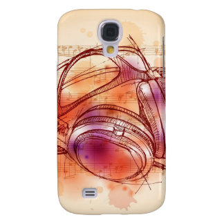 Headphones on a watercolor background & notes samsung galaxy s4 covers