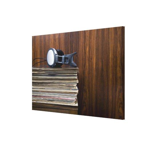 Headphones on Records Gallery Wrap Canvas