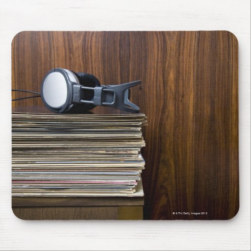 Headphones on Records Mouse Pad