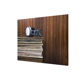 Headphones on Records Stretched Canvas Prints