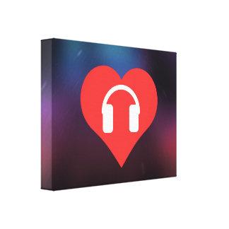 Headphones Pictogram Stretched Canvas Print