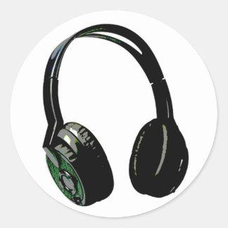 Headphones Pop Art Round Sticker