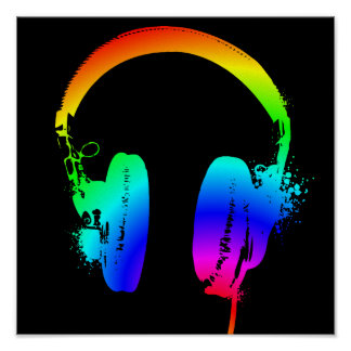 Headphones Rainbow Stencil Graphic Art Poster Sign
