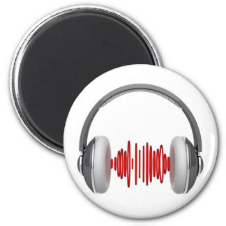 Headphones with sound waves 6 cm round magnet