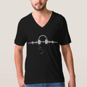 Headphones with Soundwave Spikes in White v1 T-Shirt