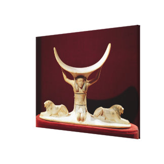 Headrest with Shu, the Egyptian God of the Air Stretched Canvas Prints