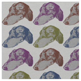 Heads and Heads of Dachshund Fabric
