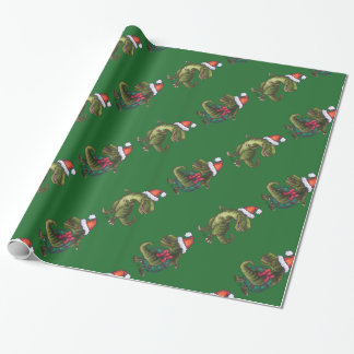 Heads and Tails Festive TRex Green Pattern Wrapping Paper