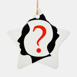 heads with a question mark ceramic ornament