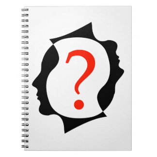 heads with a question mark notebook