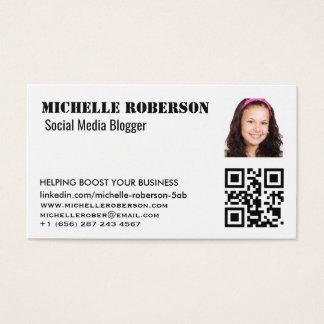 headshot and qr code clean white business card