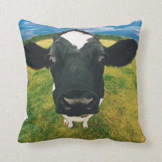 Headshot of Friesian Cow Cushion