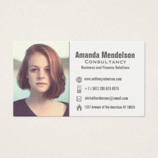 Headshot or logo and social media icons business card