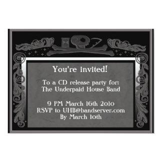 """headstone party invite (grey) 5"""" x 7"""" invitation card"""