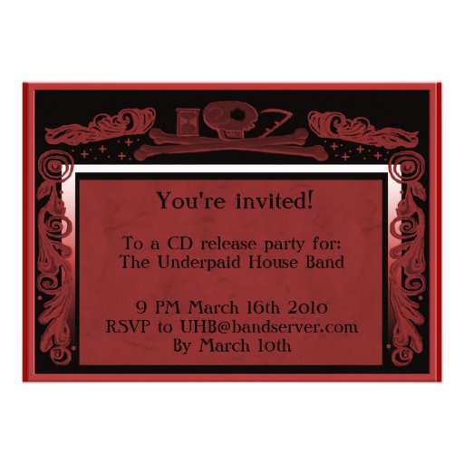 headstone party invite (red)
