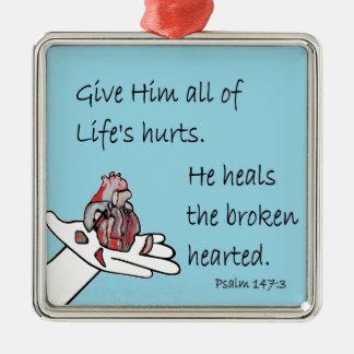 Healer of Broken Hearts Silver-Colored Square Decoration